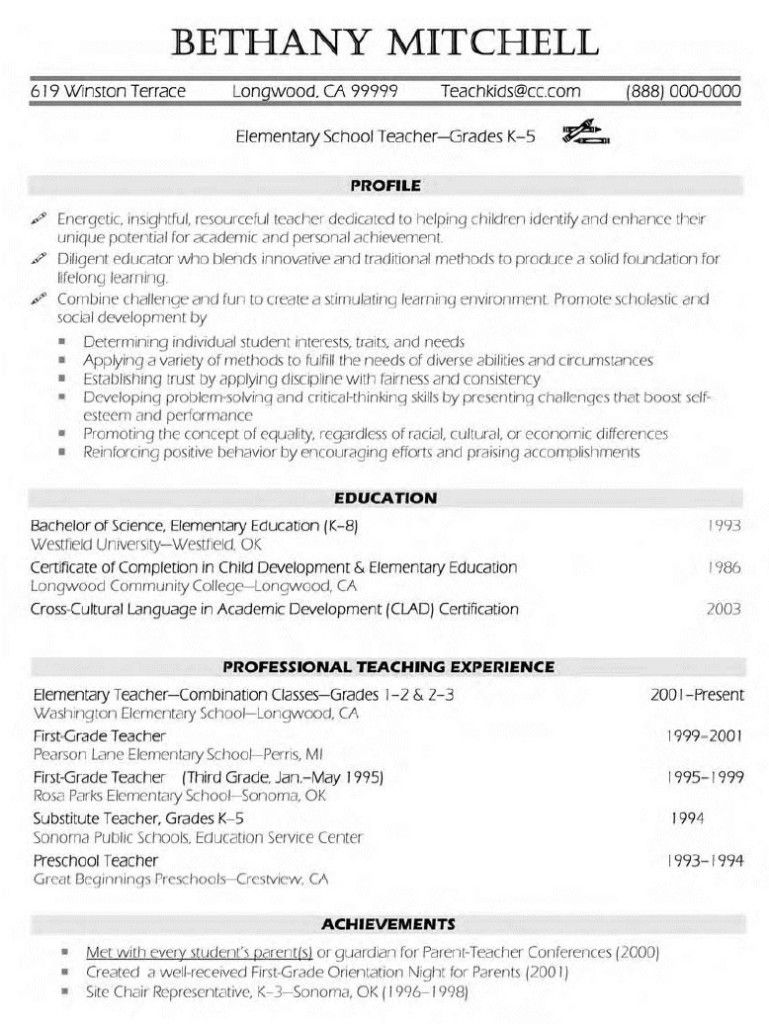 Teacher Sample Resume Tjfs Journal Org