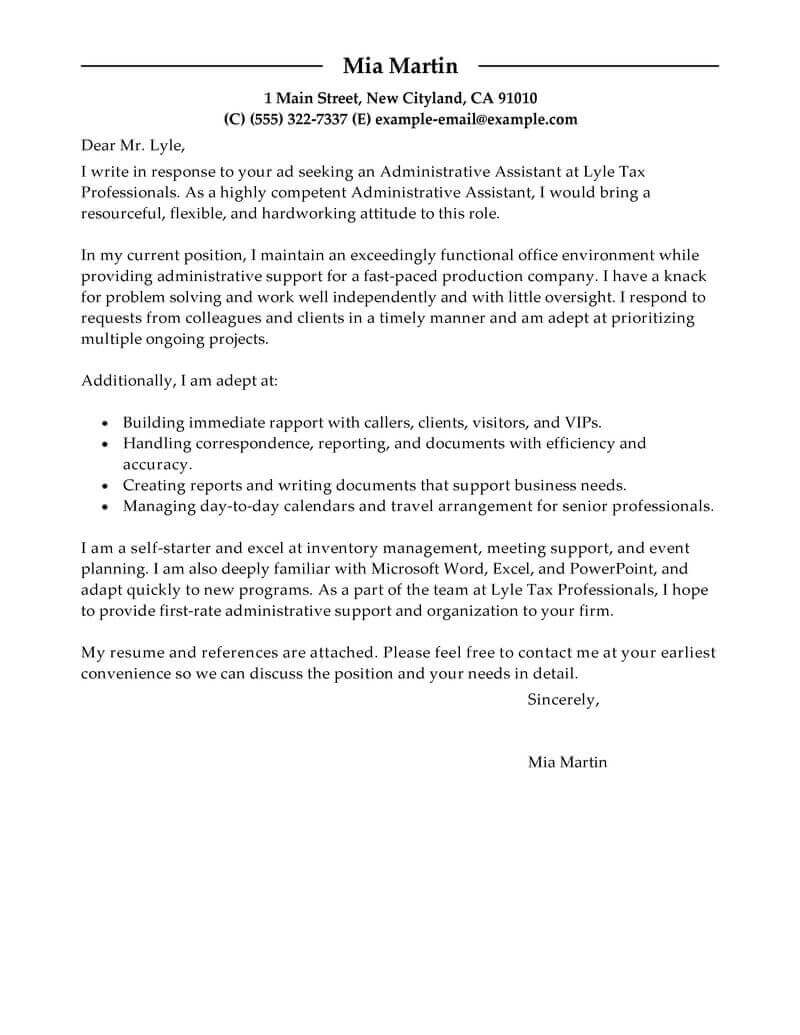 Resume Cover Letter Example #2
