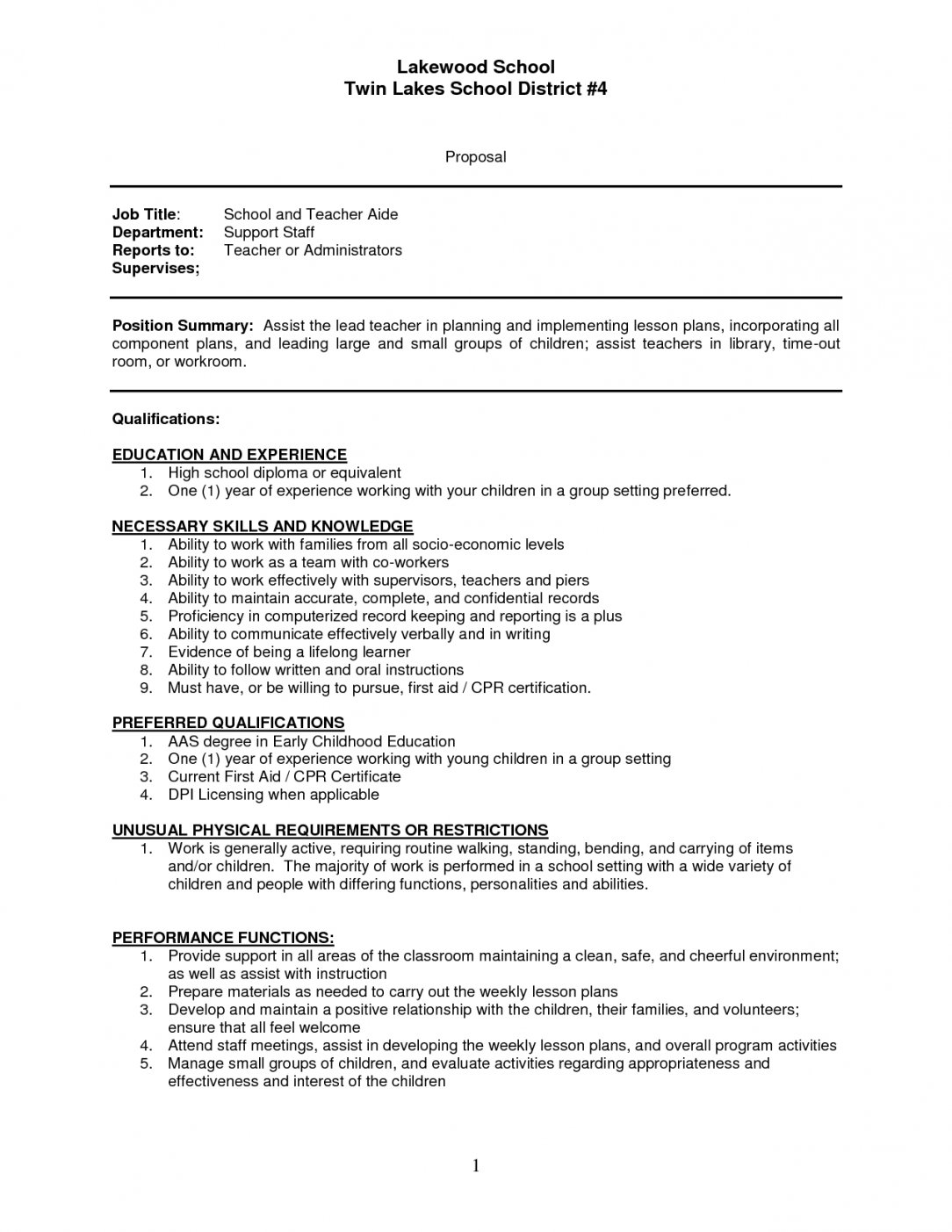 First Year Teacher Resume