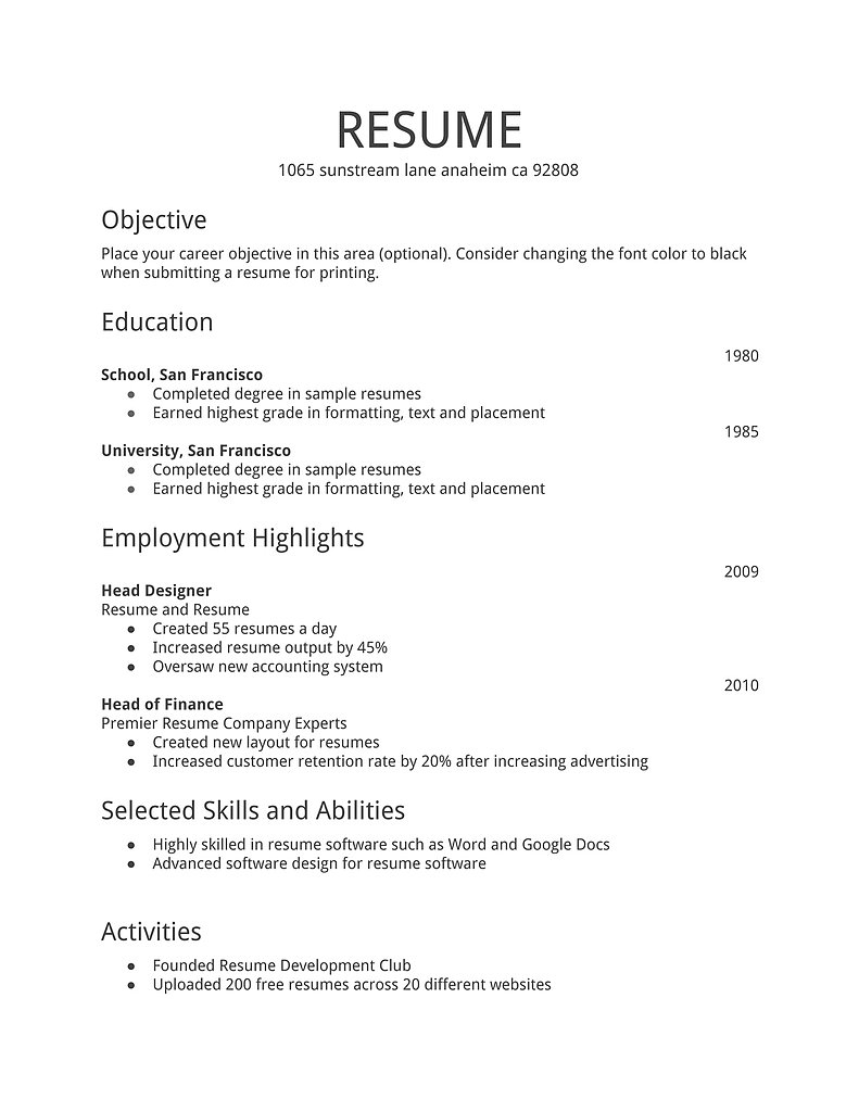 First Time Resume Samples 4 Chic Job Sample Templates 7 5 Tjfs