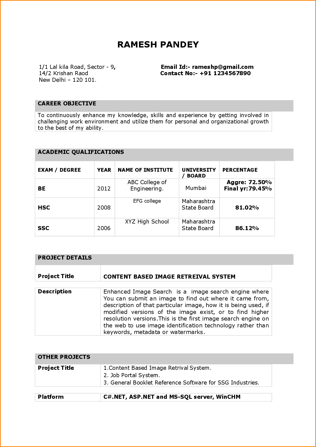 Resume Format For Word