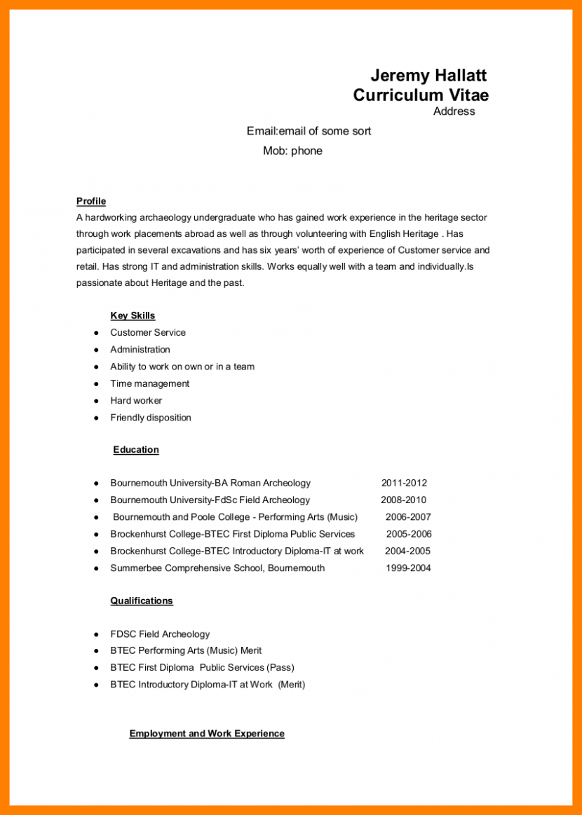 gallery of 3 how to set up resume bibliography format a on word 6 out cv microsoft for college with no work experience template an internship first job teenager google docs 830x1163 8 - How To Set Up A Resume