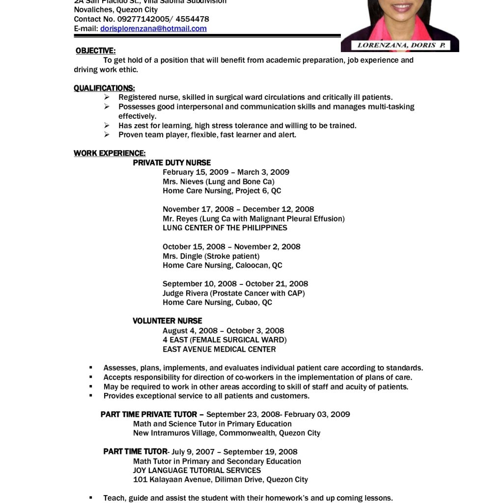 Sample Job Resumes Examples: World Of Reference