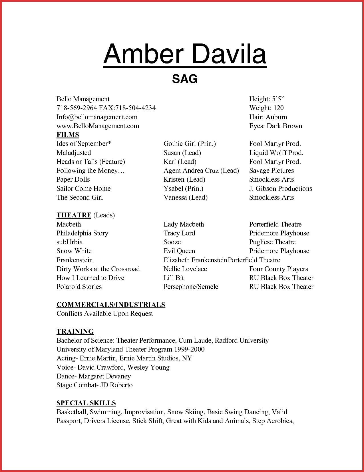 Professional Acting Resume
