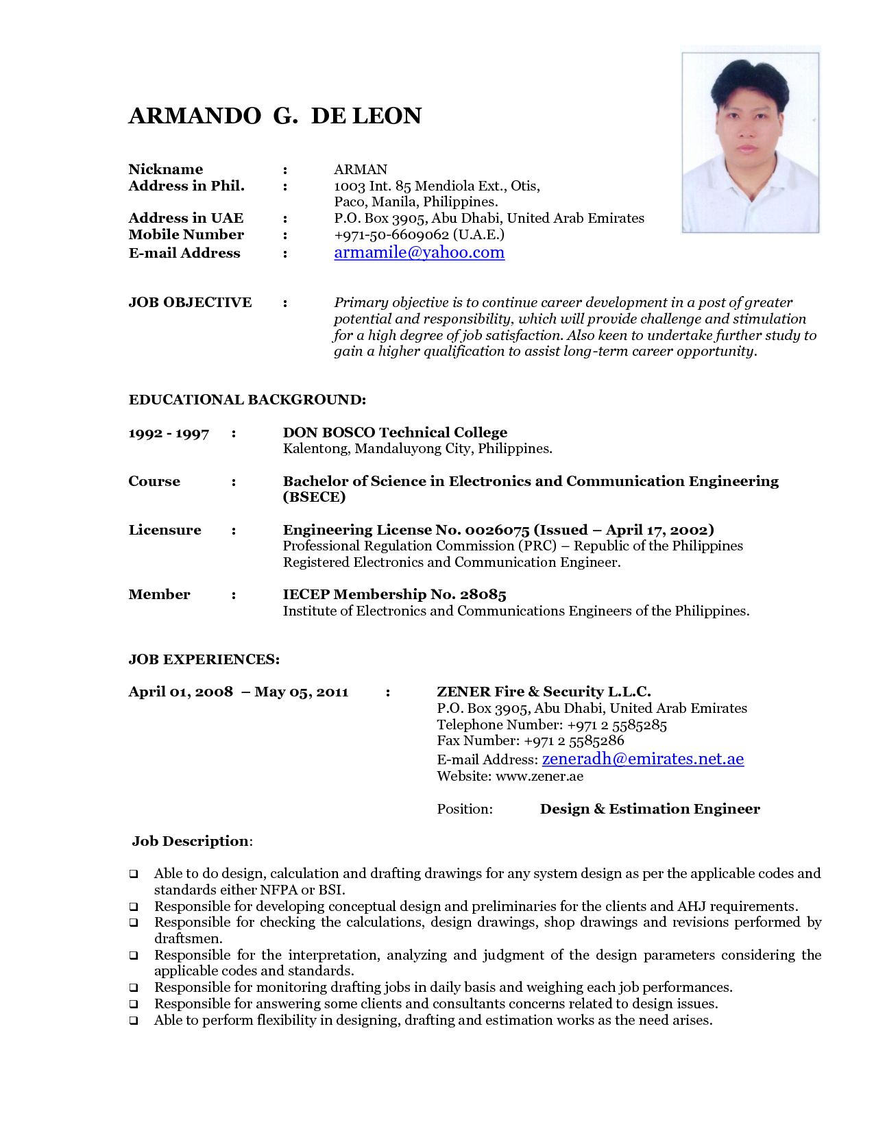Formats For Resume