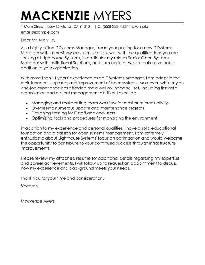Resume Cover Letter Example #1