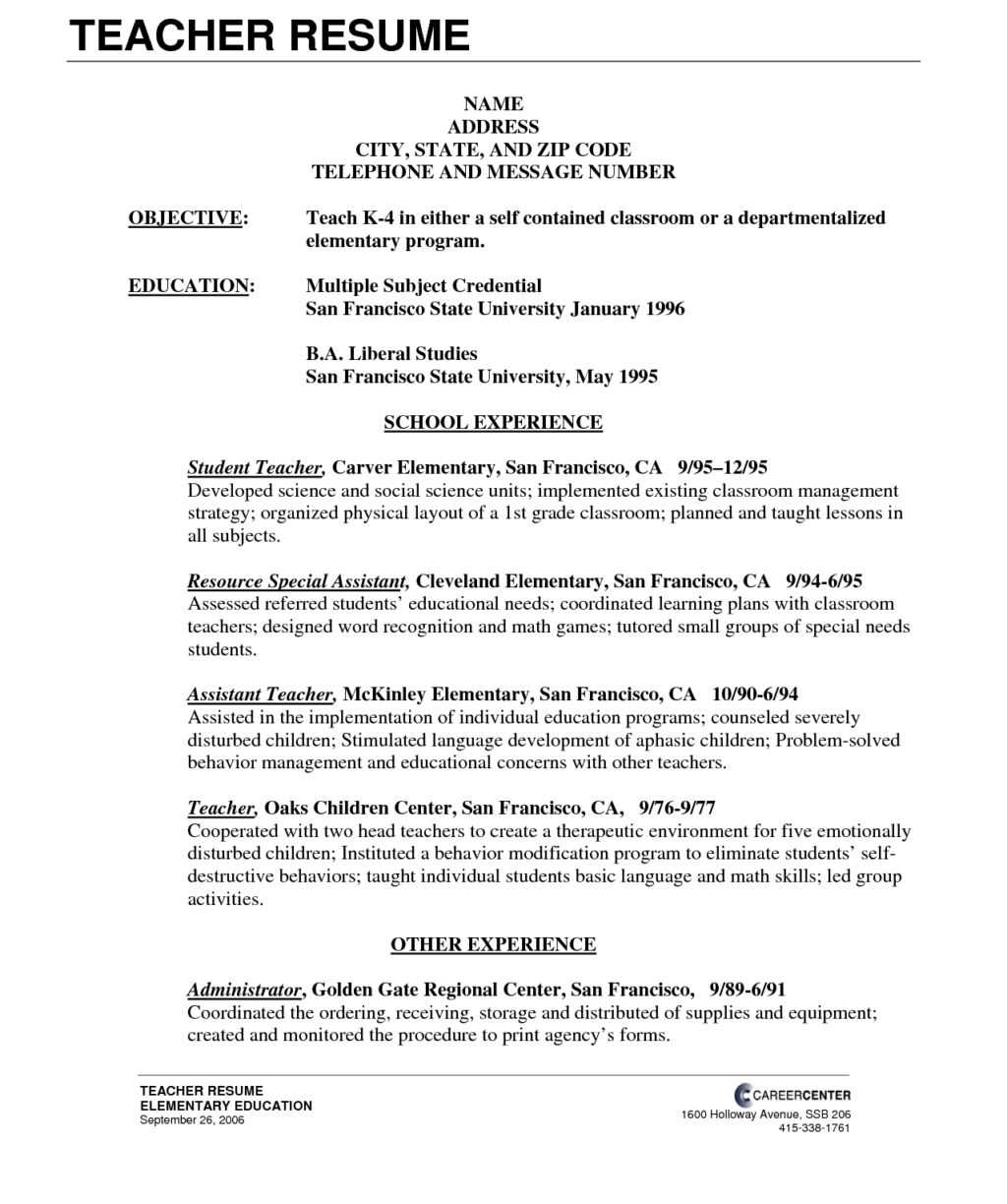 Marvelous Format For Resume Teachers Sample Objectives Pdf Philippines Preschool Teacher Aide 1024x1224 8