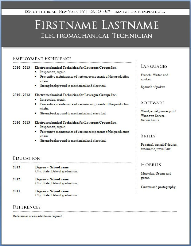 microsoft word 2010 resume