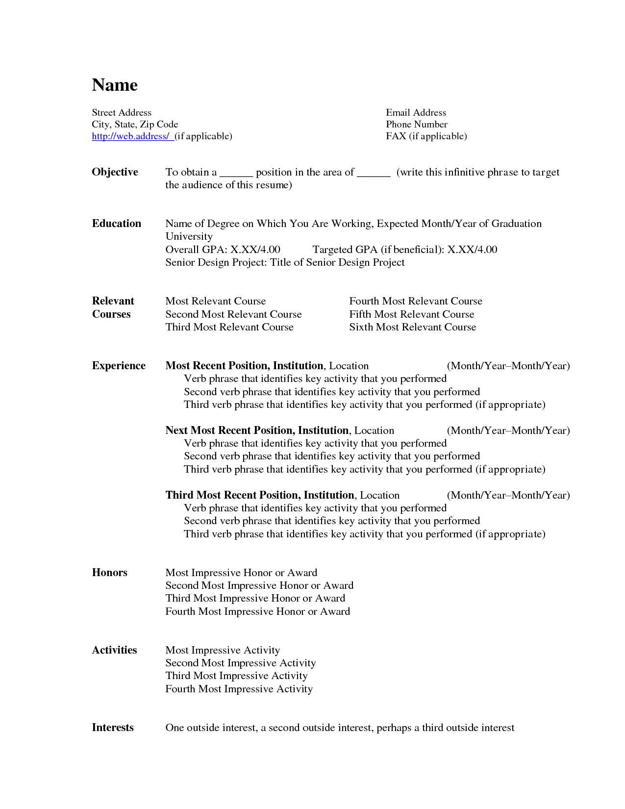 Microsoft Word Resume Template 2015 2