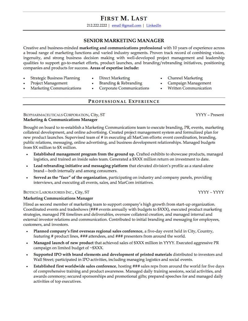 mid career professional page1 48b0aee232 5 - Professional Resume Sample