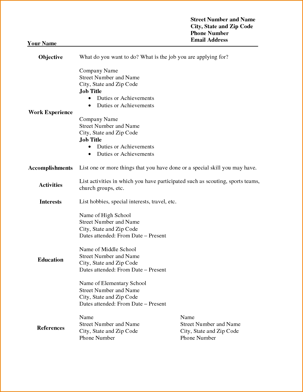 Resume Templates Printable