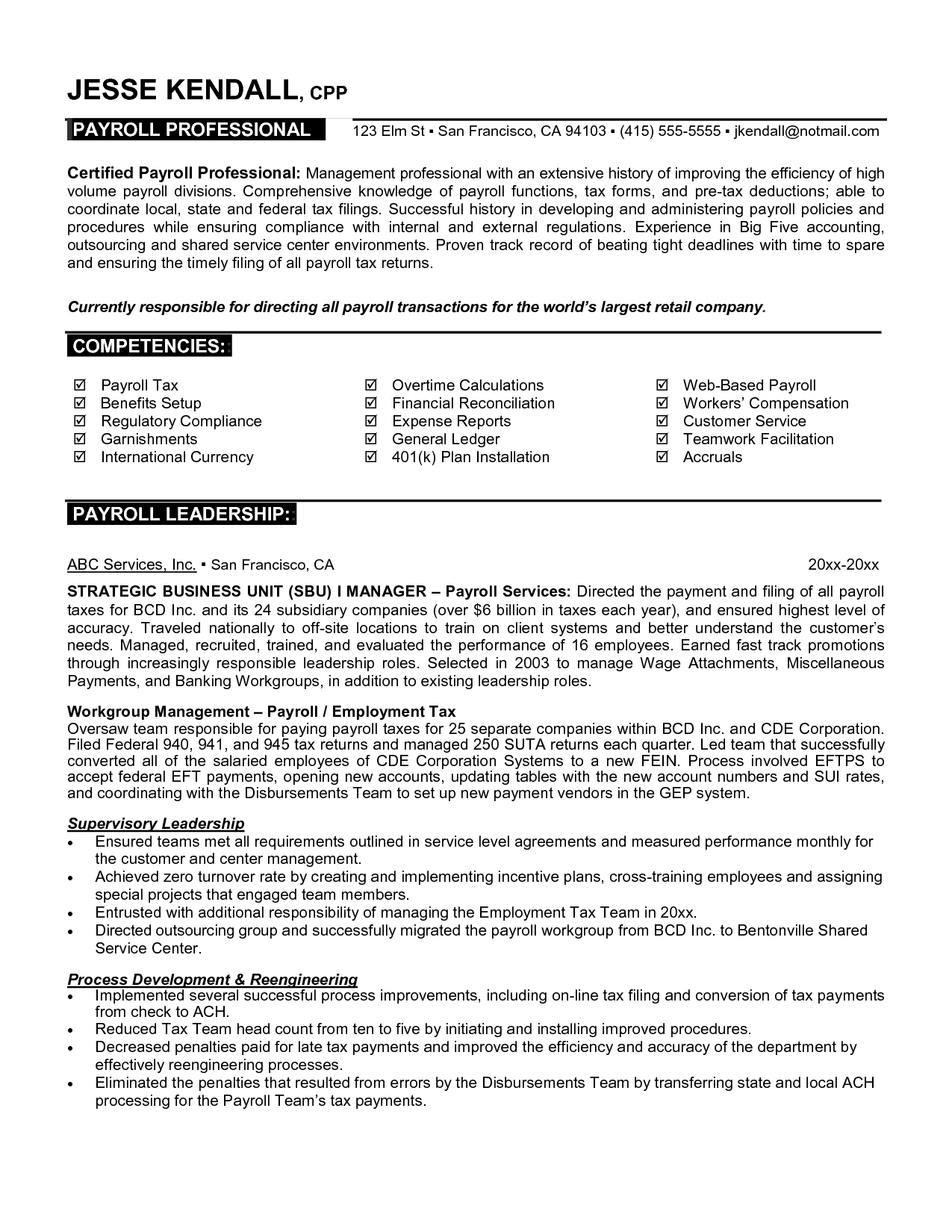 Professional Resume Examples Management 3