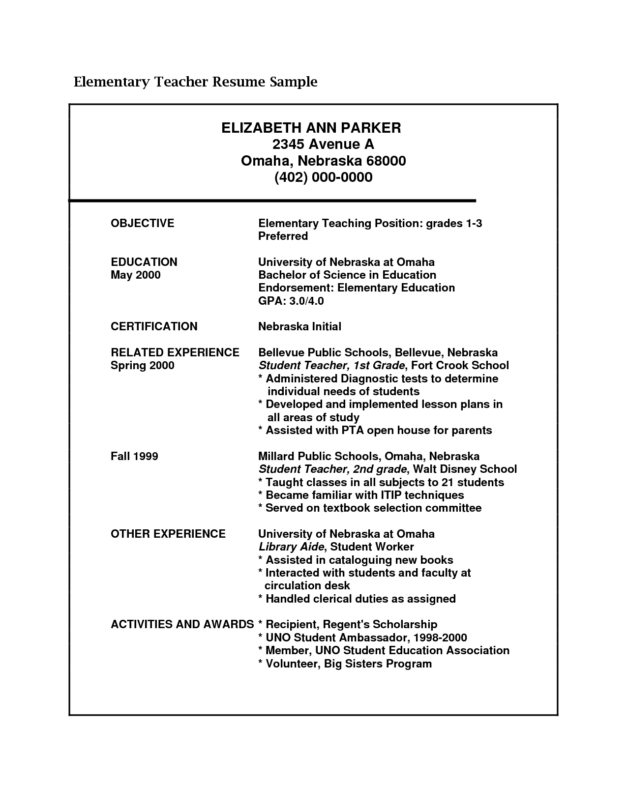 Resume Sample For Teacher Elementary School Throughout Teaching 8