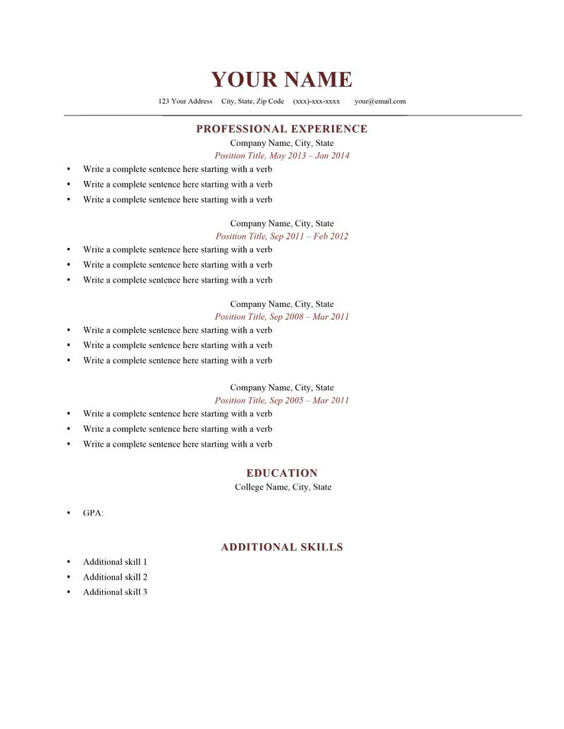Sample Resumes Templates