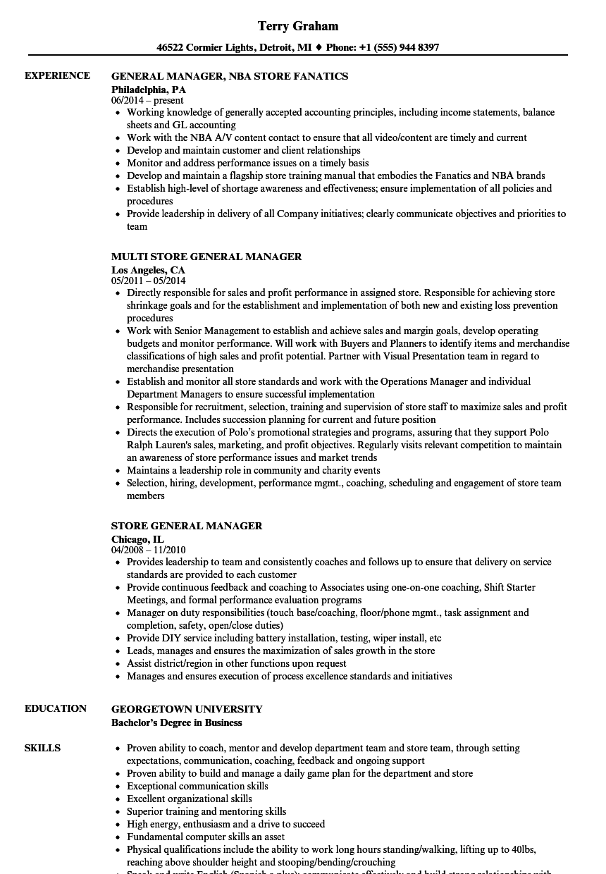 Retail General Manager Resume Template Dreaded Department Jobn Sales 8