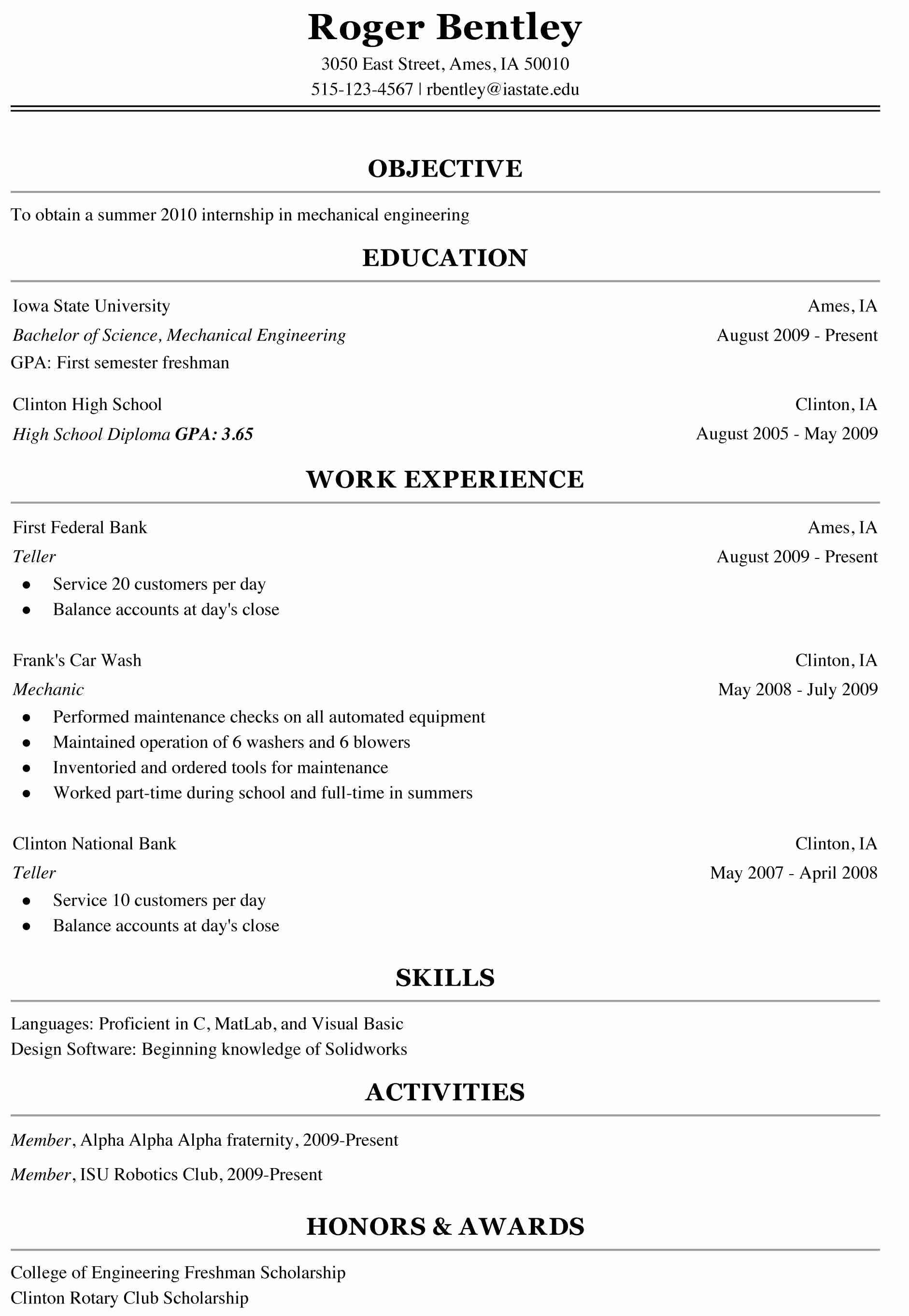 First Year College Student Resume