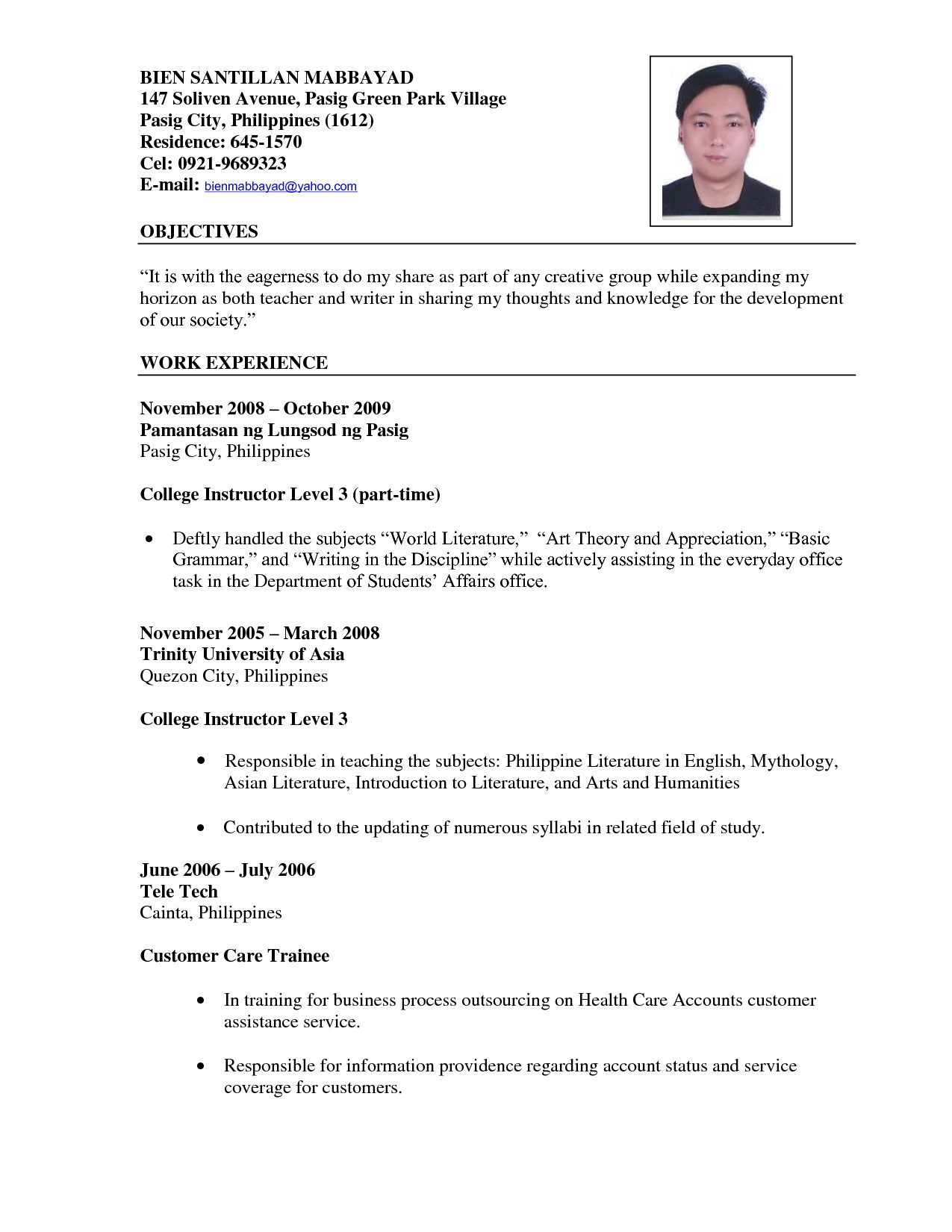 Sample Resume For Fresh Graduate Secondary Teachers Valid Pdf