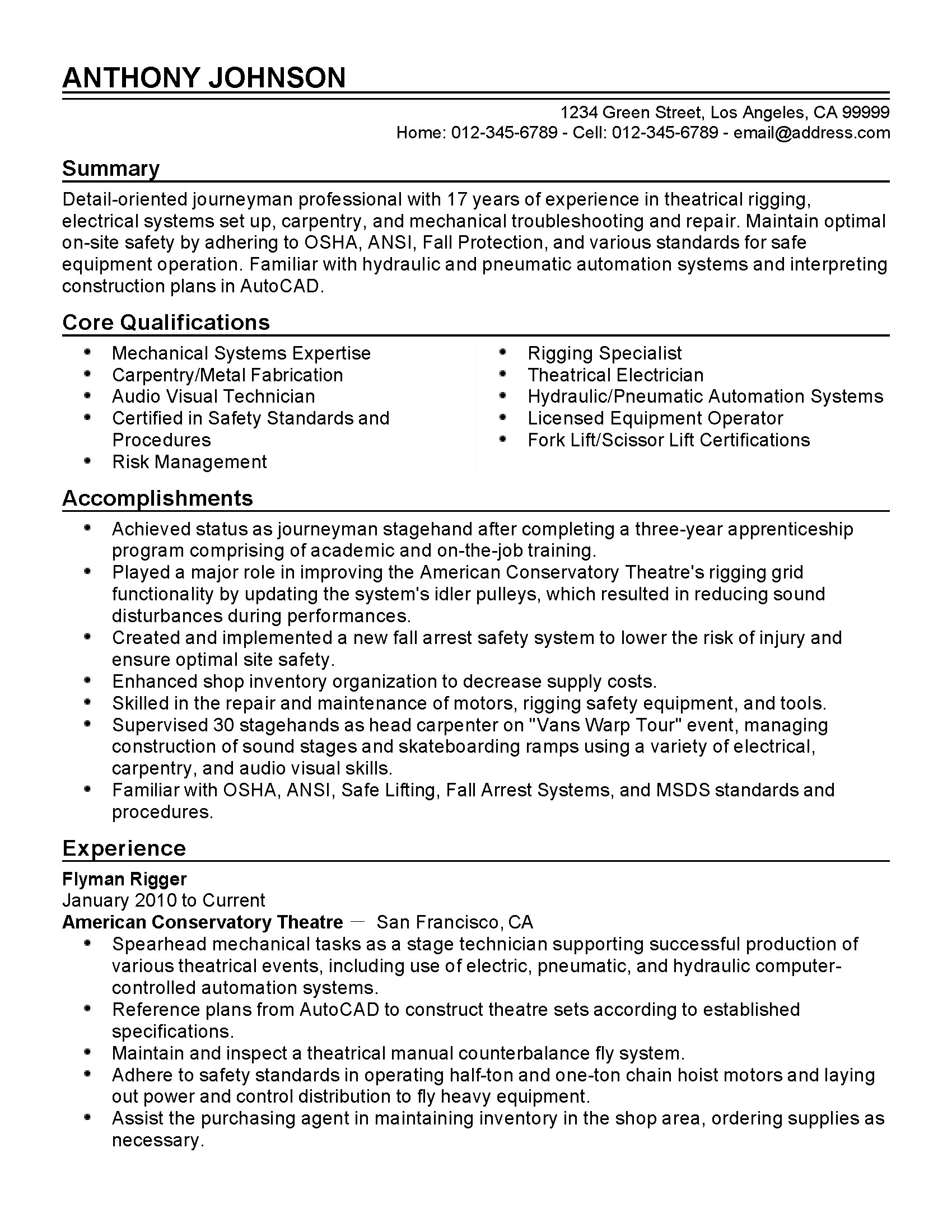 First Sergeant Resume