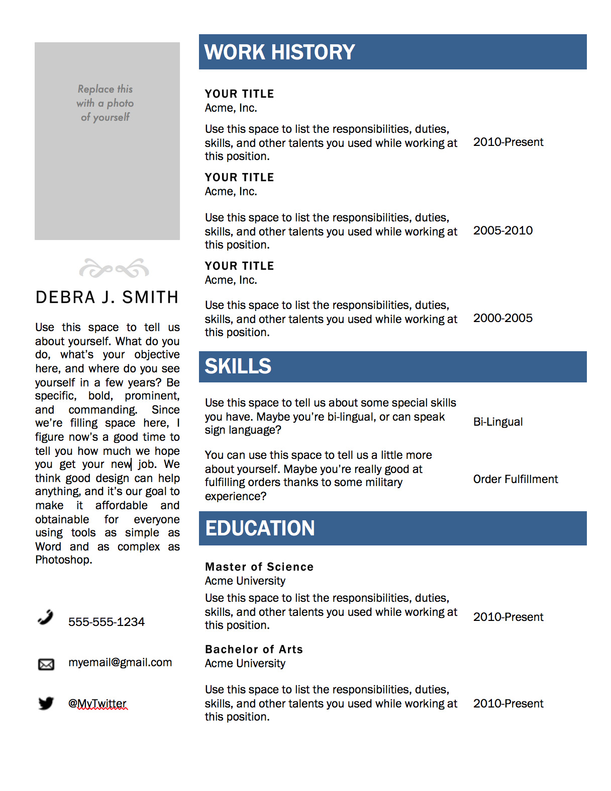 Resume Templates For Word #2