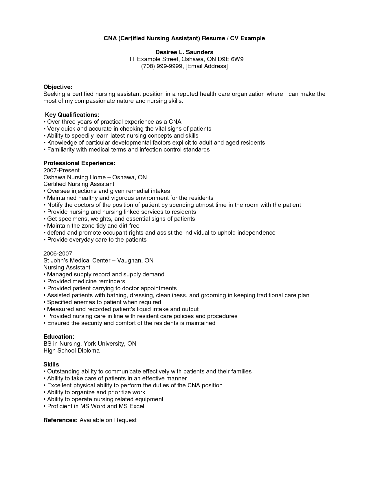 cna resume templates sample fresh for with objective 8 - Cna Resume Templates
