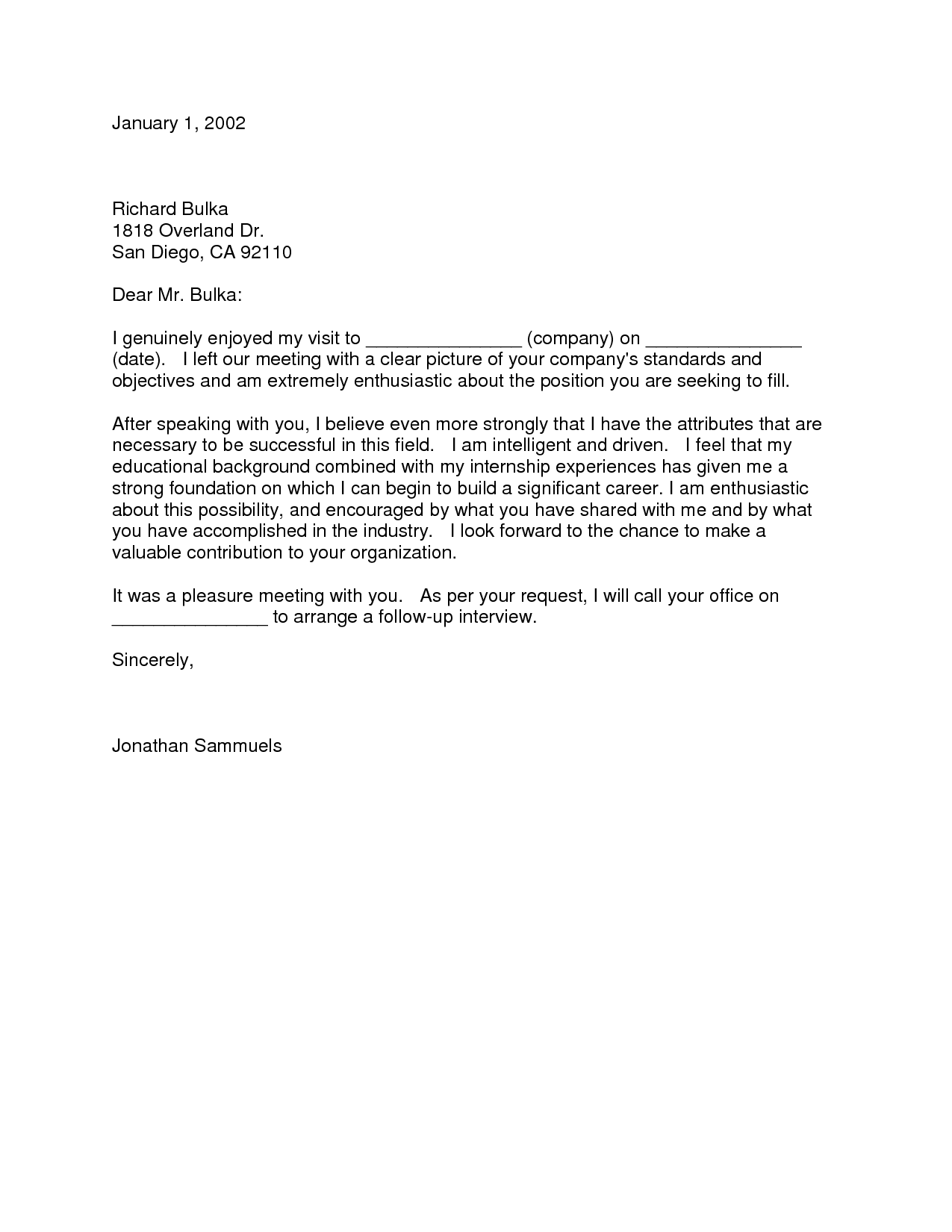 Follow Up Letter After Submitting Resume