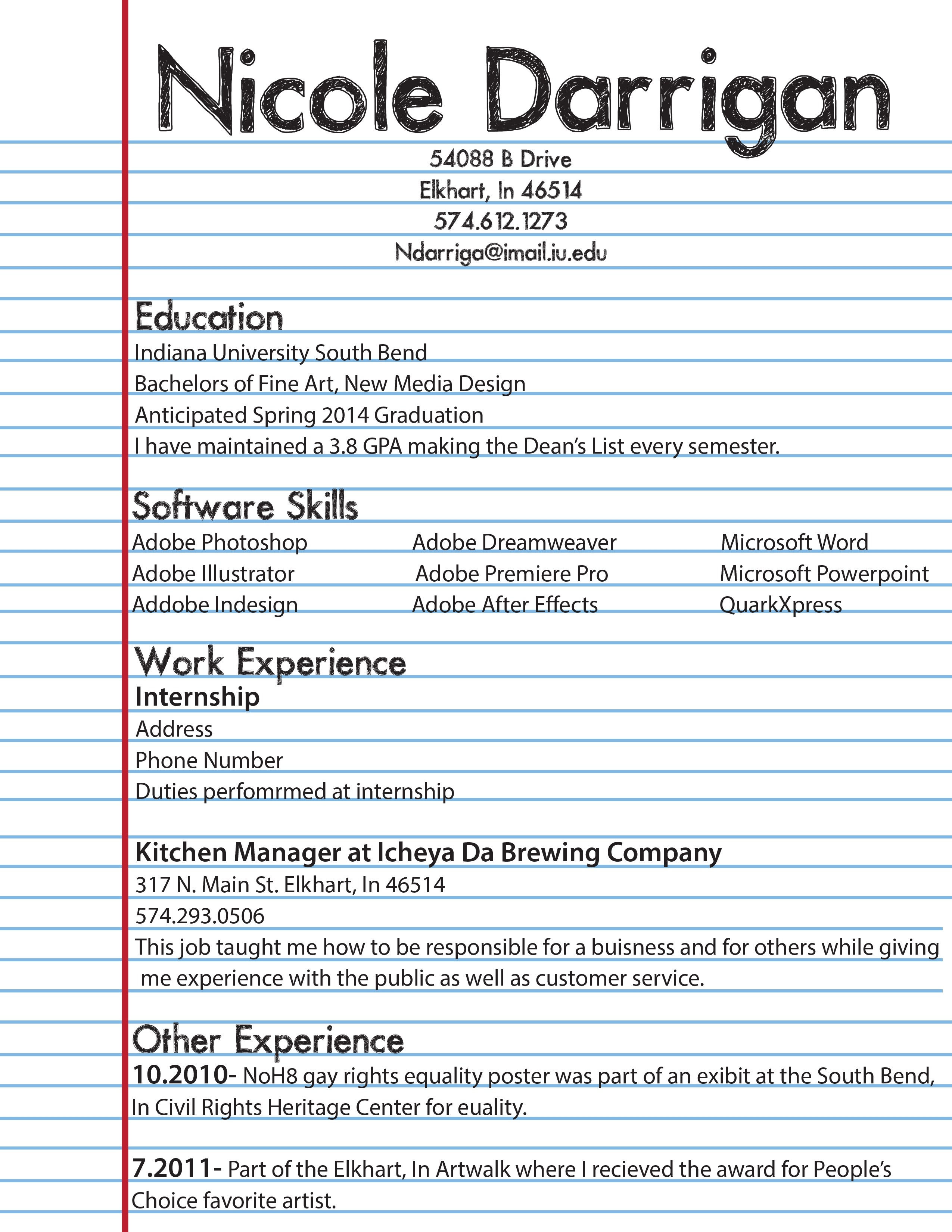 First Resume For High School Student