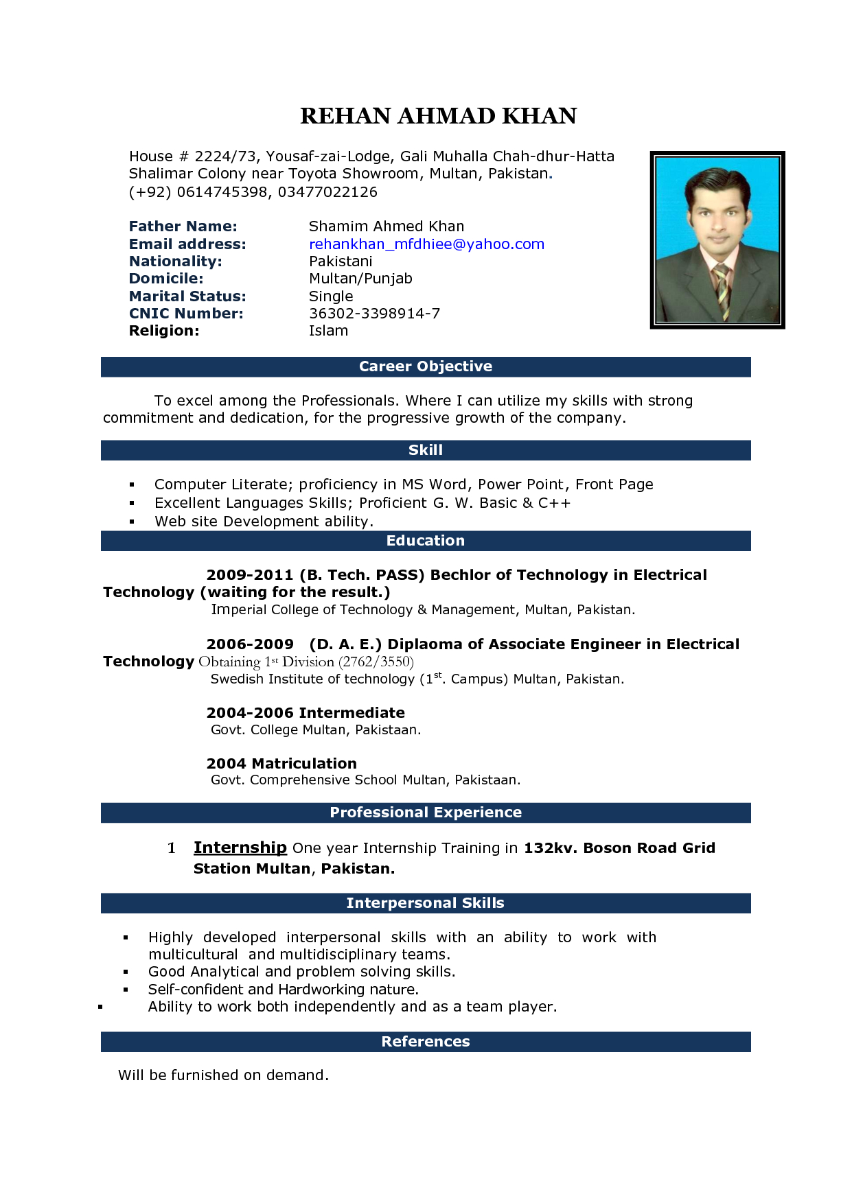 Microsoft Word Template Resume