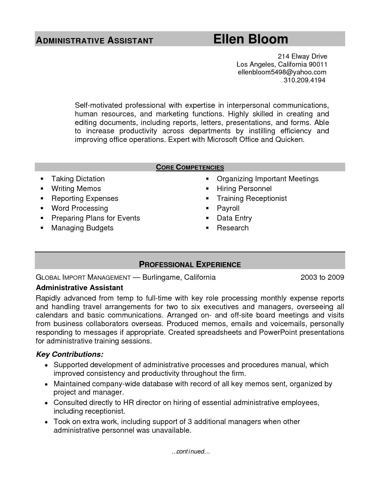 Best Administrative Assistant Resume