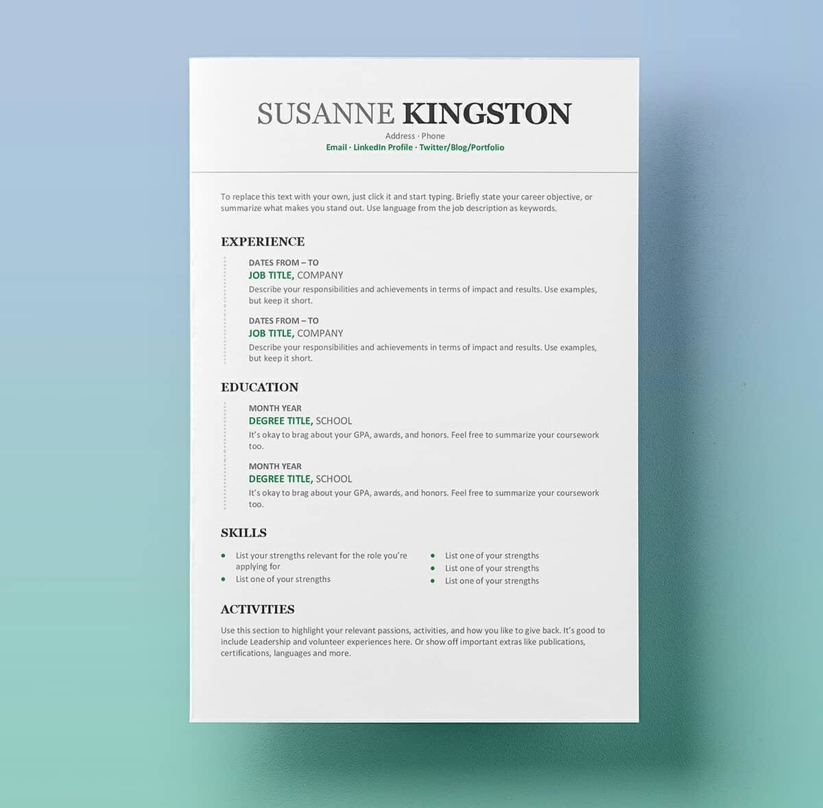 Template Resume Microsoft Word