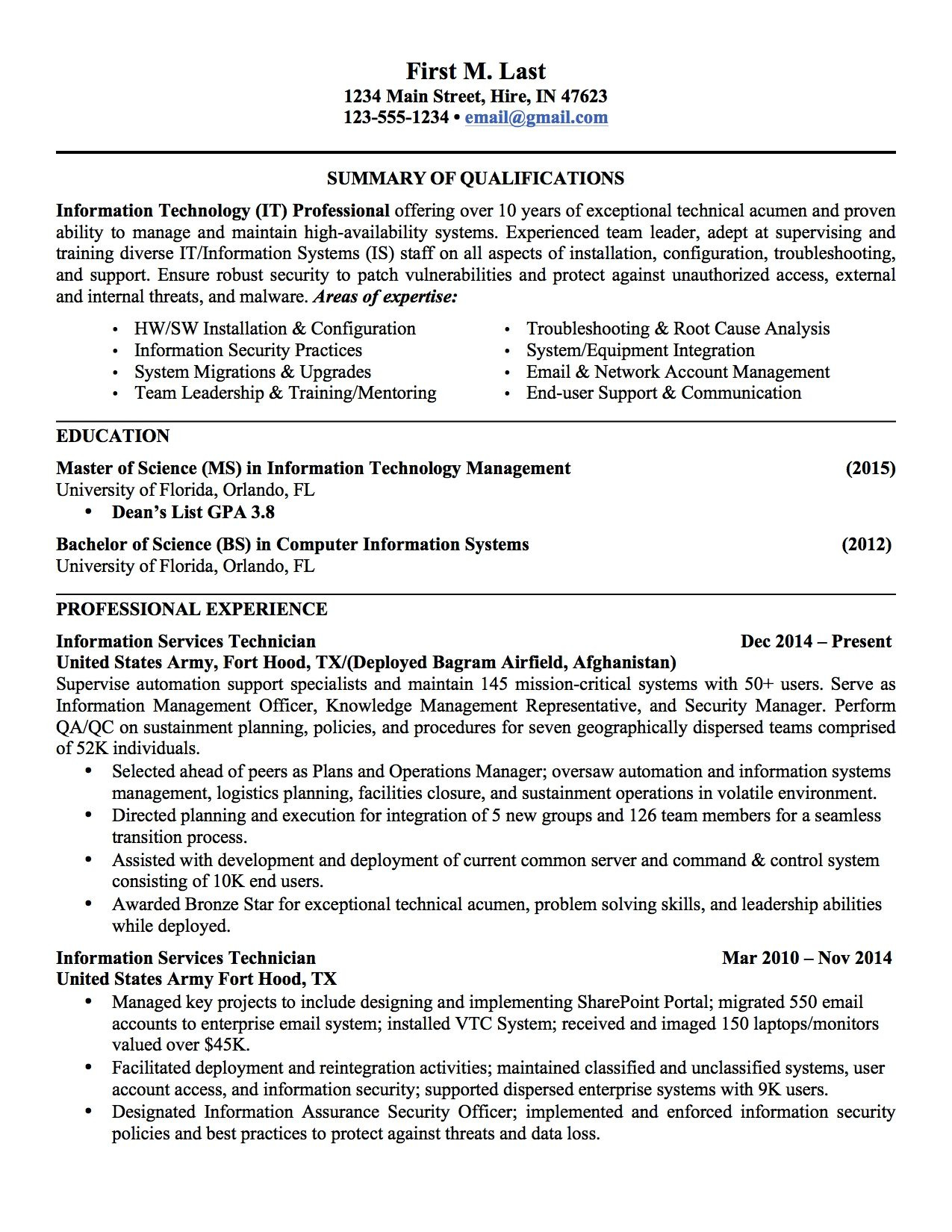 Military Experience On Resume