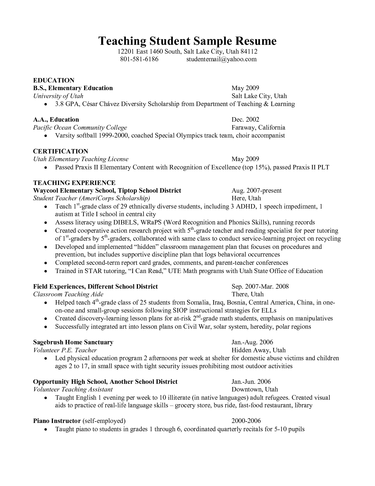 First Year Student Resume